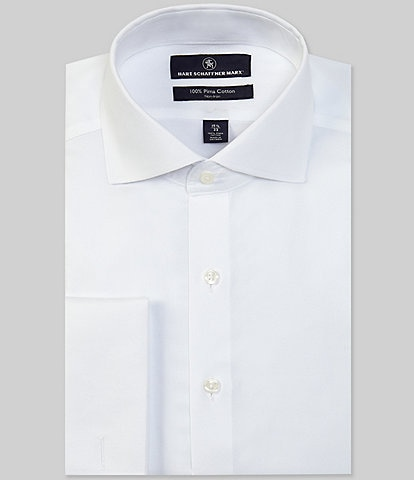 Hart Schaffner Marx Non-Iron Classic Fit Solid Cutaway Collar Solid Basket Weave French Cuff Dress Shirt