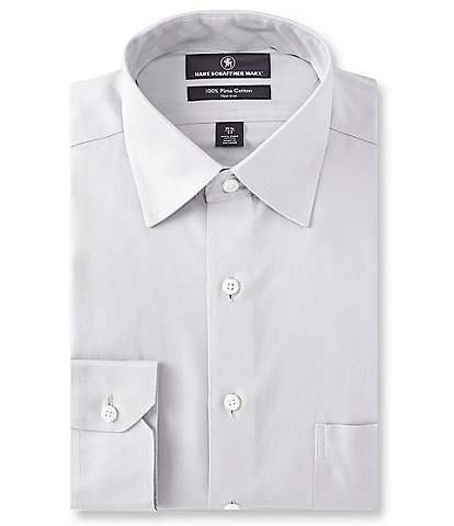 Hart Schaffner Marx Non-Iron Classic Fit Spread Collar Basket Weave Solid Dress Shirt