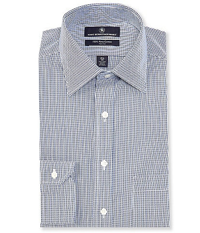 Hart Schaffner Marx Non-Iron Classic Fit Spread Collar Navy Striped Dress Shirt