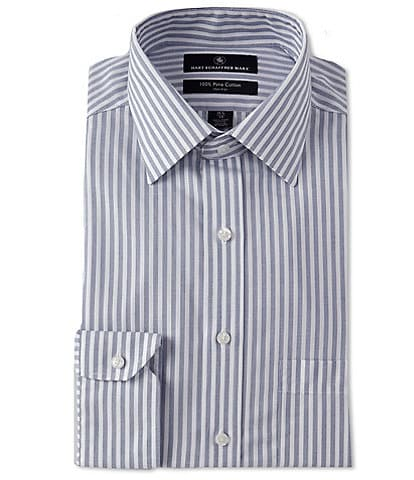 Hart Schaffner Marx Non-Iron Classic Fit Spread Collar Striped Dress Shirt