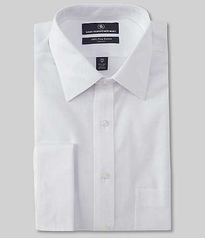 Hart Schaffner Marx Non-Iron Classic Fit Spread Collar Textured Solid Dress Shirt with French Cuffs