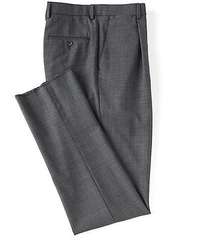 Hart Schaffner Marx Tailored Classic Fit Pleated Front Fancy Wool Dress Pants