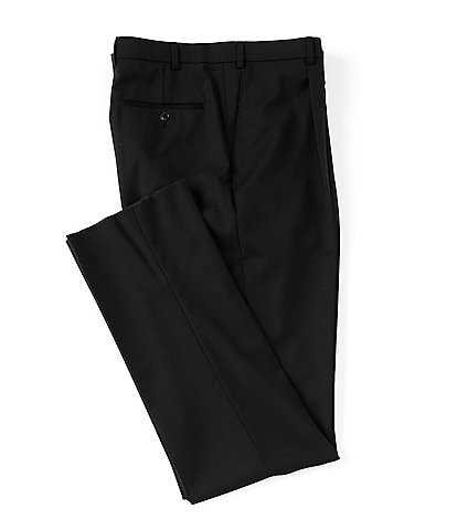 Hart Schaffner Marx Tailored Classic Fit Pleated Solid Black Dress Pants
