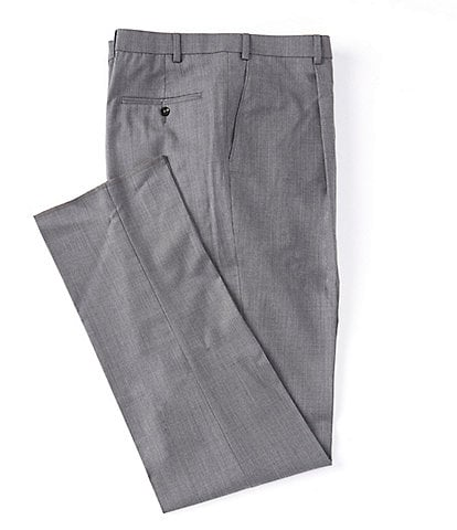 Hart Schaffner Marx Tailored Classic Fit Pleated Solid Grey Dress Pants