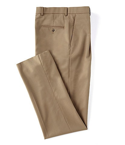 Hart Schaffner Marx Tailored Classic Fit Pleated Solid Tan Dress Pants