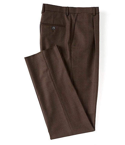 Hart Schaffner Marx Tailored Classic Fit Pleated Solid Wool Dress Pants