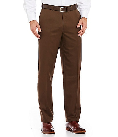 Hart Schaffner Marx Tailored Flat-Front Washable Wool Regular Chicago Fit Dress Pants
