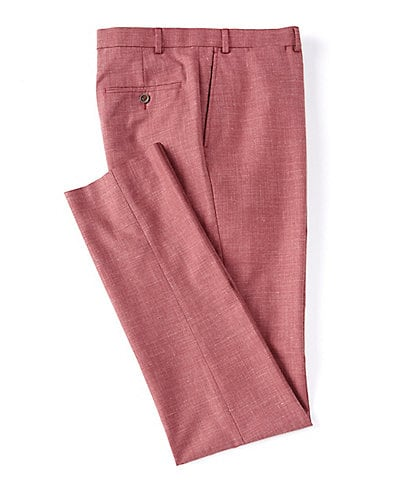 Hart Schaffner Marx Tailored Modern Fit Flat Front Solid Red Dress Pants