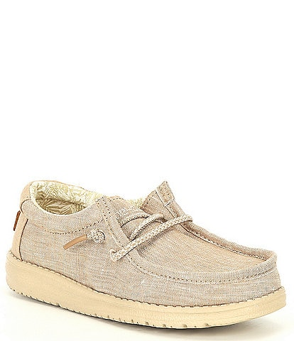 Hey Dude Boys' Wally Cotton Canvas Washable Slip-On Sneakers (Youth)