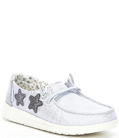 Hey Dude Girls' Wendy Silver Washable Slip-Ons (Youth)