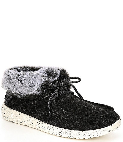 Hey Dude Women's Britt Canvas Faux-Fur Trim Lace-Up Booties