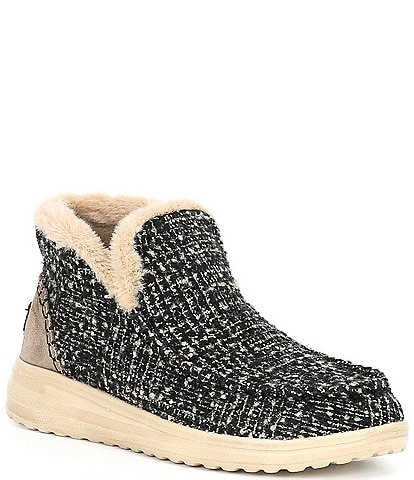 Hey Dude Women's Denny Boucle Faux Fur Lined Booties