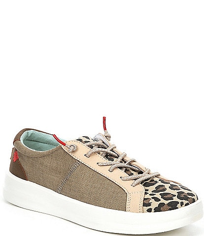 Hey Dude Women's Karina Leopard Print Washable Lace-Up Sneakers