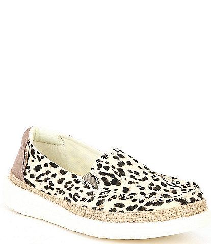 Hey Dude Women's Lena Leopard Print Washable Loafer Slip-Ons