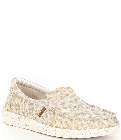 Hey Dude Women's Misty Woven Cheetah Print Washable Slip-Ons