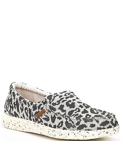 Hey Dude Women's Misty Woven Cheetah Print Slip Ons