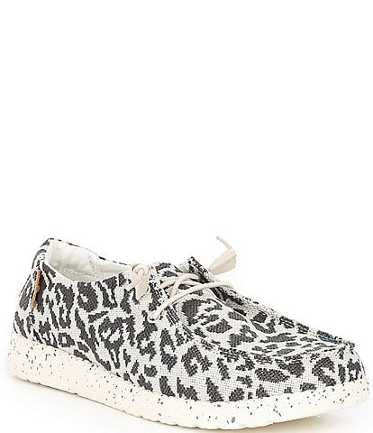 Hey Dude Women's Wendy Woven Cheetah Print Washable Slip-Ons