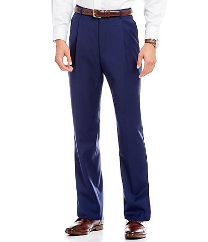 Hickey Freeman Classic-Fit Solid Pleated Dress Pants