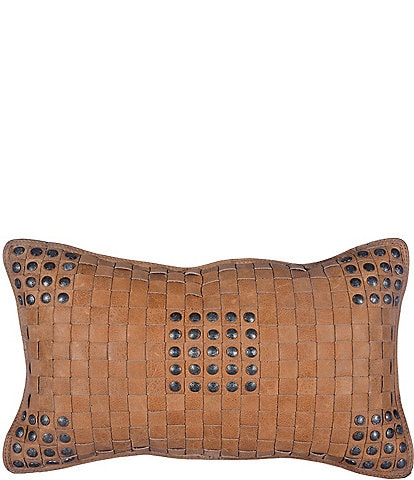 HiEnd Accents Basket Weave Leather Pillow with Stud Accents