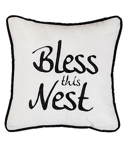 HiEnd Accents Bless The Nest Embroidered Pillow