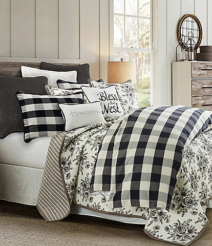 HiEnd Accents Camille Black Buffalo Check Mini Duvet Set