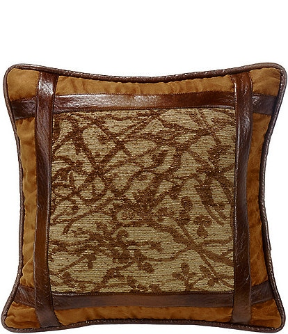 HiEnd Accents Framed Tree Pillow with Faux Leather Detail
