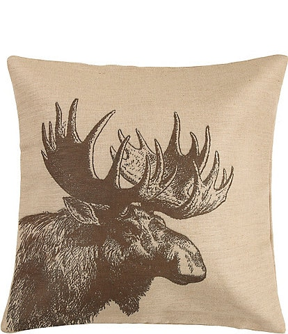 HiEnd Accents Moose Burlap Square Pillow