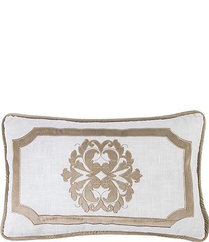 HiEnd Accents Oblong Embroidered Velvet Applique Pillow