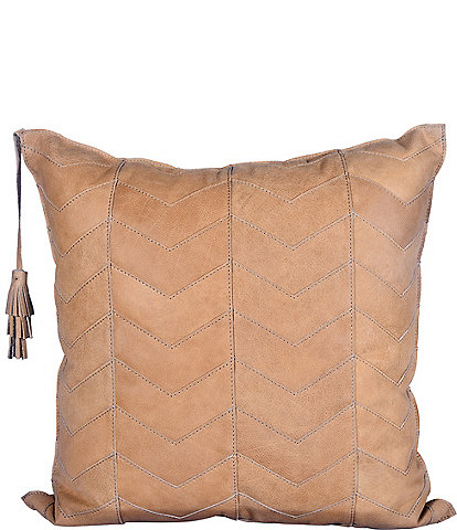 HiEnd Accents Oversized Chevron Leather Pillow with Tassels