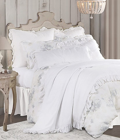 HiEnd Accents Rosaline Washed Floral Linen Comforter Mini Set