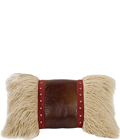 HiEnd Accents Rushmore Studded Mongolian Faux-Fur Breakfast Pillow