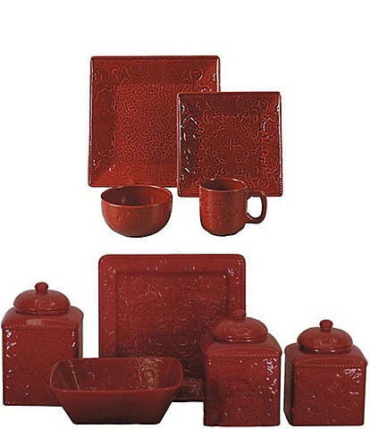 HiEnd Accents Savannah 21-Piece Western Dinnerware and Canister Set