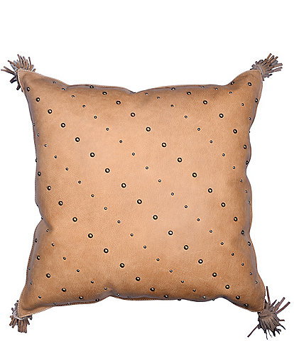 HiEnd Accents Studded Leather Pillow with Tassels