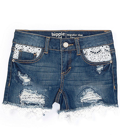 Hippie Girl Big Girls 7-16 Crochet-Trim Denim Shorts