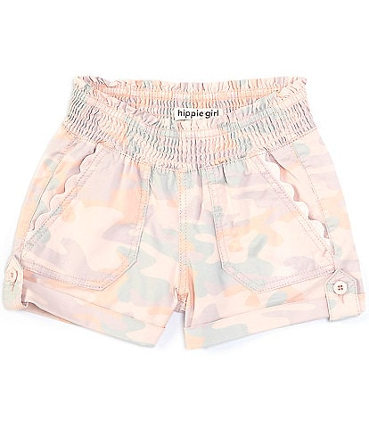 Hippie Girl Big Girls 7-16 Smocked Porkchop Camo Shorts