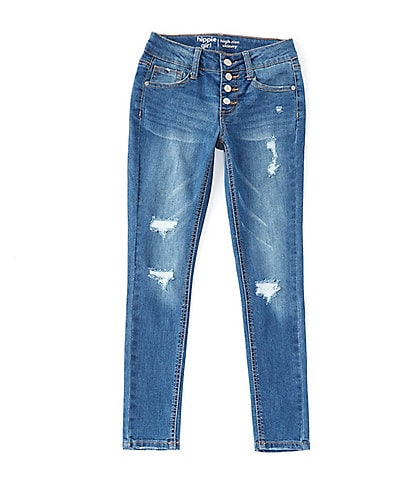 Hippie Girl Big Girls 7-16 Snap-Button Destructed Denim Jeans