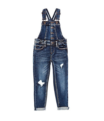 Hippie Girl Little Girls 4-6X Faux Button-Front Denim Overalls