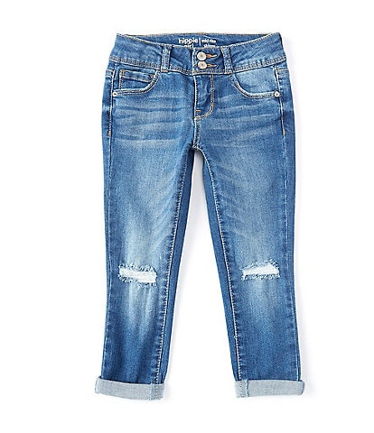 Hippie Girl Little Girls 4-6X REPREVE Double-Roll Cuff Destructed Skinny Jeans
