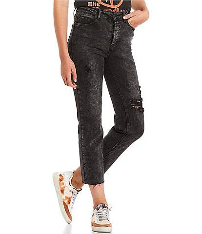 Hippie Laundry High Rise Destructed Raw-Hem Straight Crop Jeans