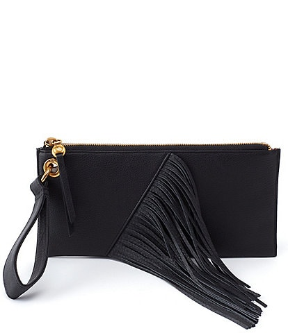 Hobo Dizzy Leather Top Zip Fringe Wristlet
