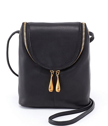 Hobo Fern Zipper Flap Mini Top Grain Leather Crossbody Bag