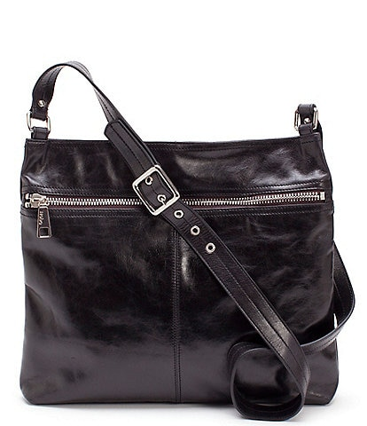 Hobo Lorna Front Zip Top Grain Leather Shiny Nickel Hardware Crossbody Bag