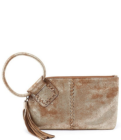 Hobo Sable Metallic Ring-Handle Leather Wristlet