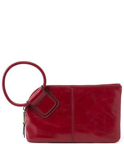 HOBO Sable Top Grain Leather Tassel Ring-Handle Top Zip Wristlet