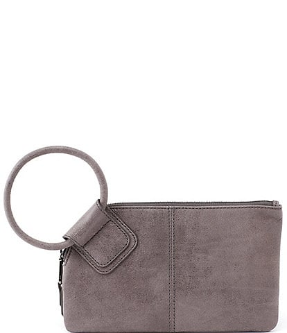 Hobo Sable Top Grain Leather Tassel Ring-Handle Top Zip Wristlet