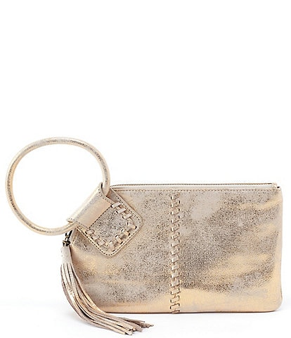 Hobo Sable Ring Handle Metallic Leather Wristlet
