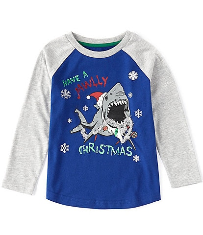 Hollywood Little Boys 2T-7 Long-Sleeve Christmas Shark Raglan Tee