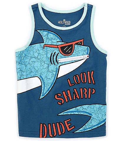 Hollywood Little Boys 4-7 Shark Zipper-Pocket Tank Top