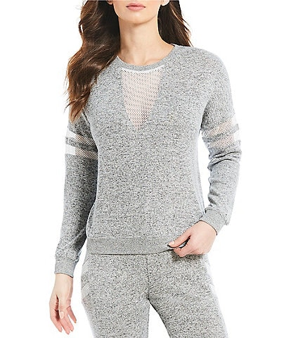 Honey & Sparkle Brushed Hacci Mesh Sweatshirt