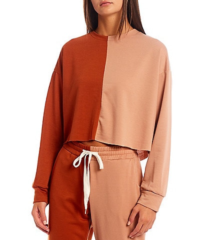 Honey & Sparkle Coordinating Colorblock Long Sleeve Cropped Pullover